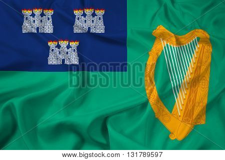 Waving Flag of Dublin, with beautiful satin background