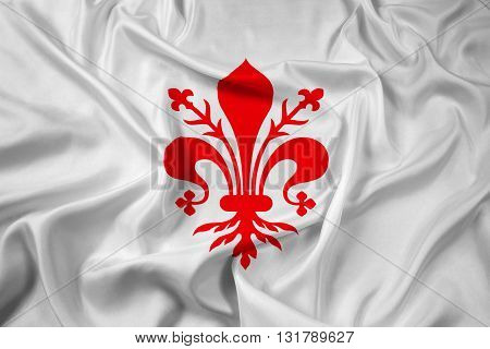 Waving Flag of Florence, with beautiful satin background