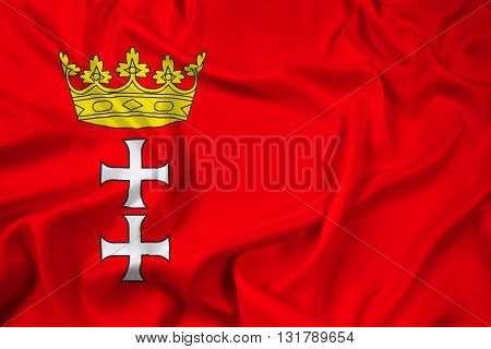 Waving Flag of Gdansk Poland, with beautiful satin background
