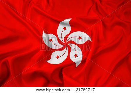 Waving Flag of Hong Kong, with beautiful satin background