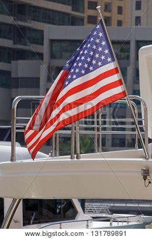 close up of American flag on speedboat