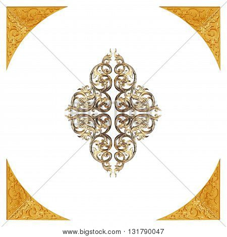 Pattern of flower carved frame on white background
