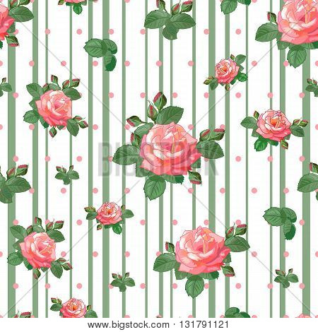 Seamless pattern with beautiful roses, buds and leaves on a white background of pink stripes and Vector illustration in the style of shabby chic. Can be used for fabric, textile, scrapbooking, wrapping paper.