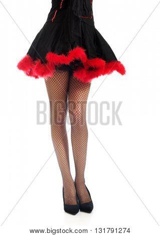 Woman legs wearing devil clothes