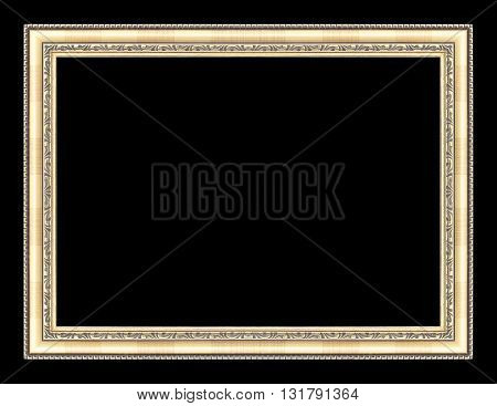 The gold frame on the black background