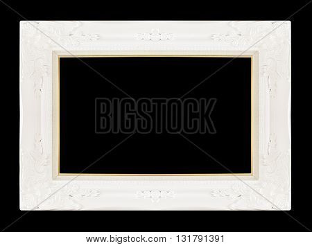 White picture frame isolated on black background