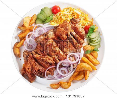 Meat pork potatoes large dish onion, cabbage pickles, dish many, top, isolated, white background