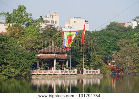 HANOI, VIETNAM - DECEMBER 13, 2015: The Temple of the Jade Mountain on lake Joaquim. Religious landmark of the city Hanoi, Vietnam