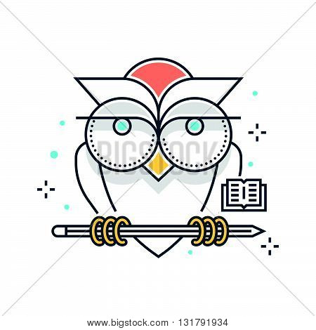 Color Line, Education, Owl Illustration