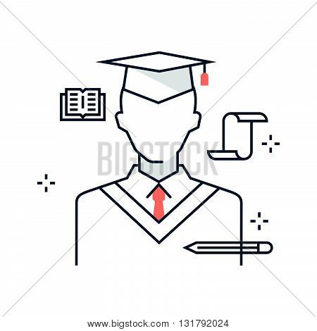 Color Line, Graduation Hat Illustration