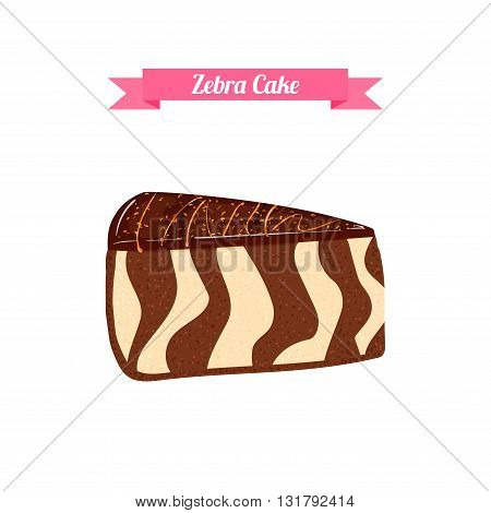 Piece of cake. Vector sliced portion of the chocolatel striped zebra cake. Isolated image of a delicious tasty cake on white background for menu design, coffee, confectionery