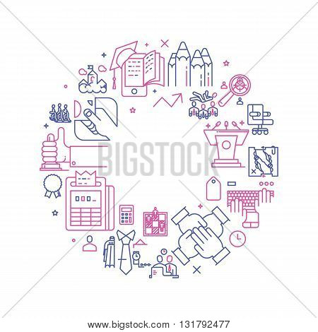Vector business illustration with icons and signs in linear style components of the business project on white background poster or banner template