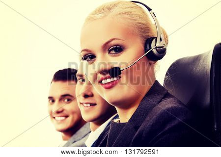 Call center- three smile people