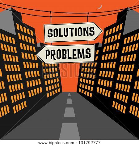 Road sign with opposite arrows and text Solutions - Problems, vector illustration