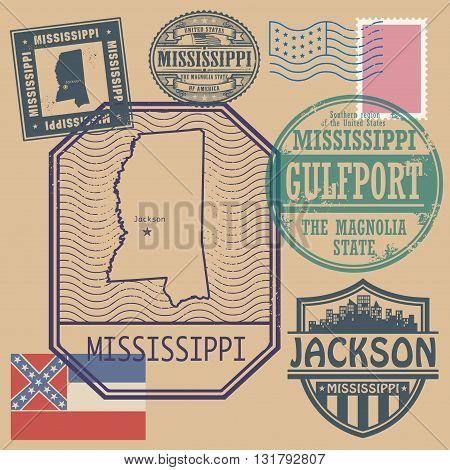 Stamp set with the name and map of Mississippi, United States, vector illustration
