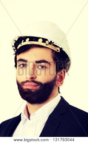 Handsome engineer in protective helmet.