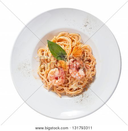 pasta with shrimp, salmon, a plate, top, tomato paste, a plate top, tomato paste isolated, white background