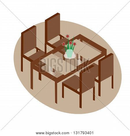 Table with chairs for cafes. Table with chairs icon. Table with chairs Modern. Table with chairs on white background. Table with chairs Flat. Table with chairs isometric. Table with chairs vector