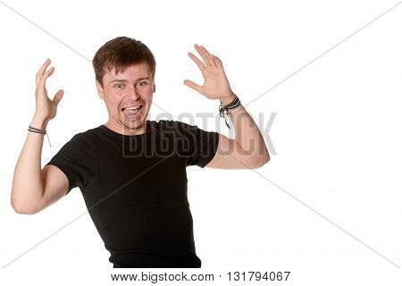 Excited young man isolated on white with space for text