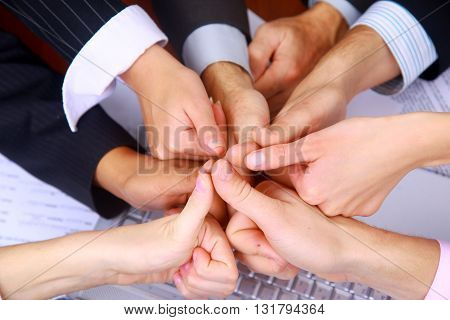 Group of business people celebrating teamwork success
