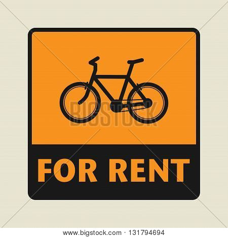 Bike For Rent icon or sign, vector illustration