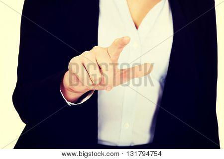Business woman push virtual button