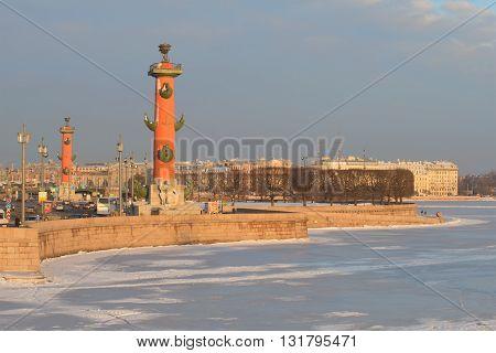 SAINT-PETERSBURG, RUSSIA - FEBRUARY 03, 2015: Spit of Vasilyevsky Island in the rays of the morning sun in february. Historical landmark