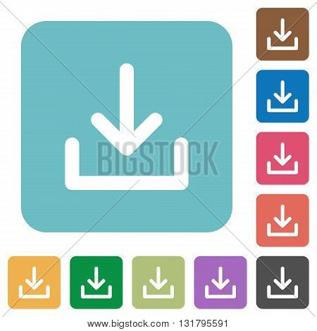 Flat download icons on rounded square color backgrounds.