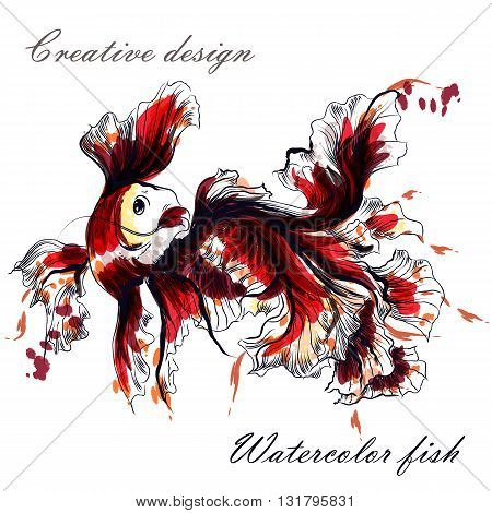 Beautiful hand drawn goldfish in watercolor style painted by ink spots