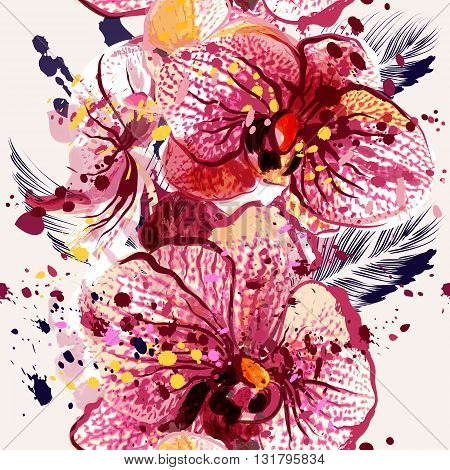 Beautiful seamless pattern with orchid flowers in watercolor style painted by spots