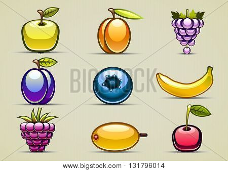 Set of nine shiny fruits and berries