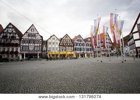 BAD URACH, GERMANY - OCTOBER 21: Half-timbered houses on the Marktplatz square in Bad Urach, Germany on October 21, 2014.