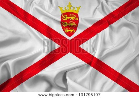 Waving Flag of Jersey, with beautiful satin background