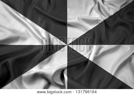 Waving Flag of Lisbon, with beautiful satin background