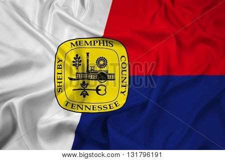 Waving Flag of Memphis Tennessee, with beautiful satin background