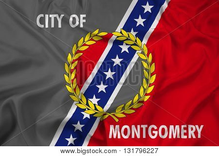 Waving Flag of Montgomery Alabama, with beautiful satin background