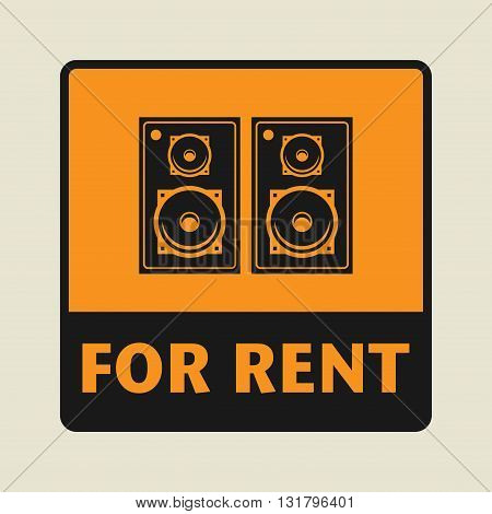 Speakers For Rent icon or sign vector illustration