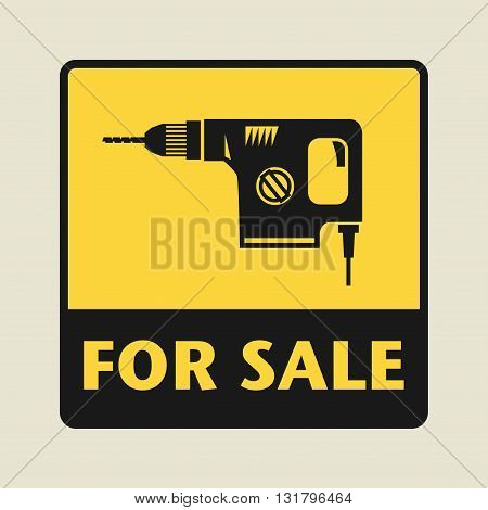 Power tool For Sale icon or sign vector illustration