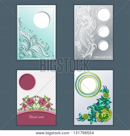 Set of card, headline, brochure with sketch doodles decorative pattern for design. Place for text