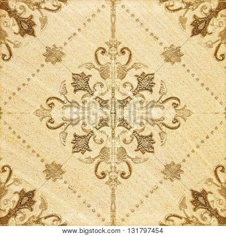 The Decorative brown sandstone tile texture background