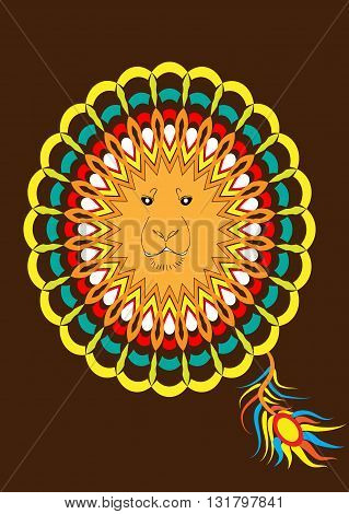Patterned head of the lion on brown background. Lion in Indian style. It may be used for design of a t-shirt bag postcard a poster and so on. Vector illustration