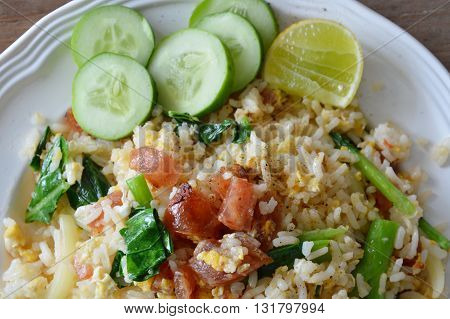 fried rice with slice Chinese sausage on dish