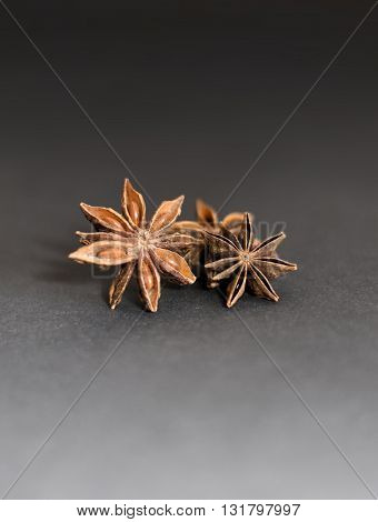 Close-up of christmas spices. Star anise on a black underground.