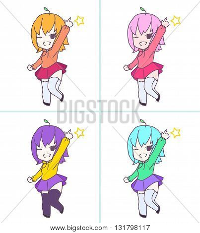 Cute pink anime chibi girl pointing 4 color set