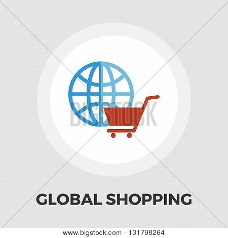 Global shopping icon vector. Flat icon isolated on the white background. Editable EPS file. Vector illustration.