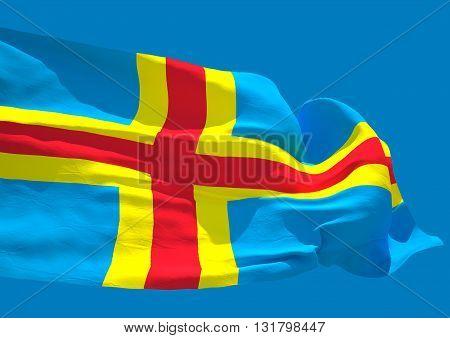 Aland Island wave flag HD. Finland Mariehamn Swedish