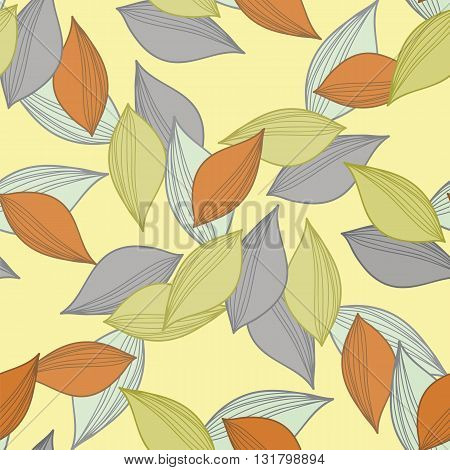 Seamless ornament. A pattern made of multi-colored fallen autumn leaves.Vector illustration.