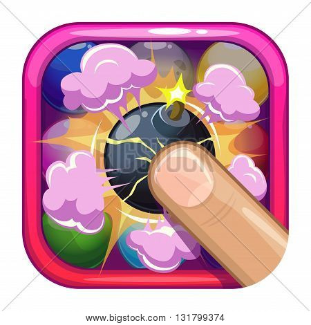 Funny cartoon game app icon with bomb explosion, games application store element, vector asset for game design