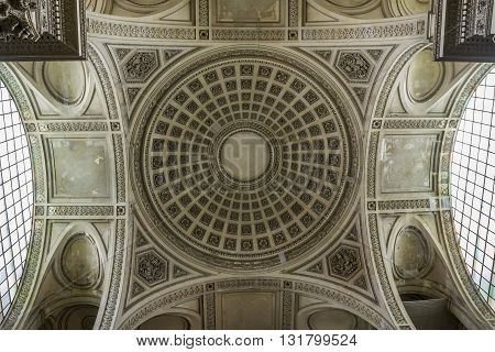 PARIS, FRANCE - MAY 14, 2013: This view on dome inside the Pantheon.