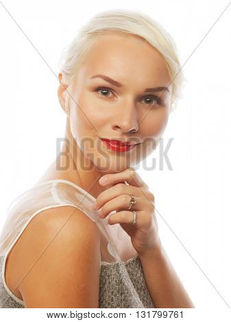 attractive caucasian smiling woman blond